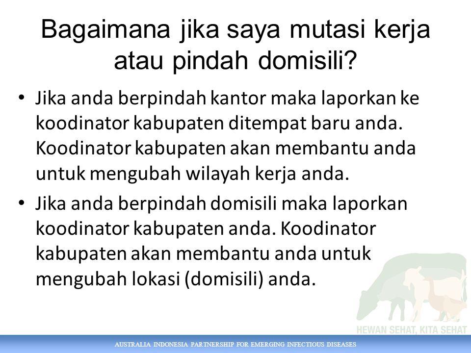 AUSTRALIA INDONESIA PARTNERSHIP FOR EMERGING INFECTIOUS DISEASES Bagaimana jika saya mutasi kerja atau pindah domisili.