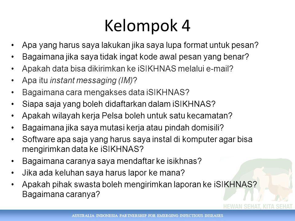 AUSTRALIA INDONESIA PARTNERSHIP FOR EMERGING INFECTIOUS DISEASES Kelompok 4 Apa yang harus saya lakukan jika saya lupa format untuk pesan.