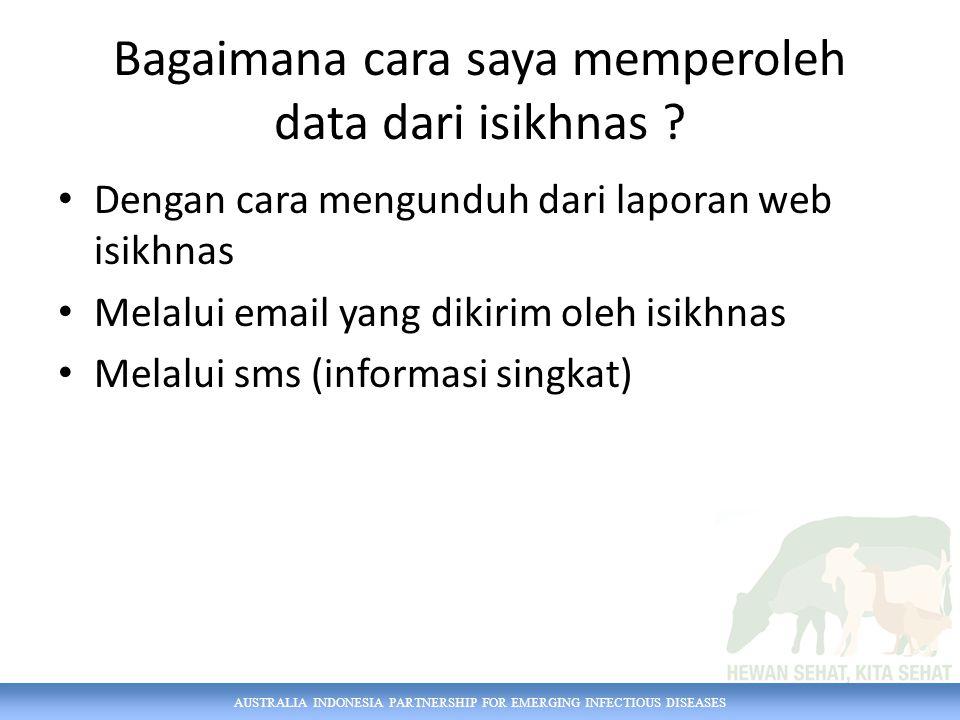 AUSTRALIA INDONESIA PARTNERSHIP FOR EMERGING INFECTIOUS DISEASES Bagaimana cara saya memperoleh data dari isikhnas .
