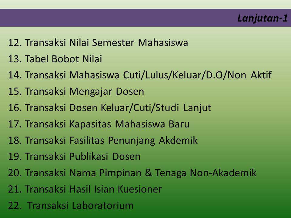 Lanjutan-1 12.Transaksi Nilai Semester Mahasiswa 13.