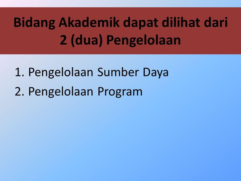Bidang Akademik dapat dilihat dari 2 (dua) Pengelolaan 1.Pengelolaan Sumber Daya 2.Pengelolaan Program