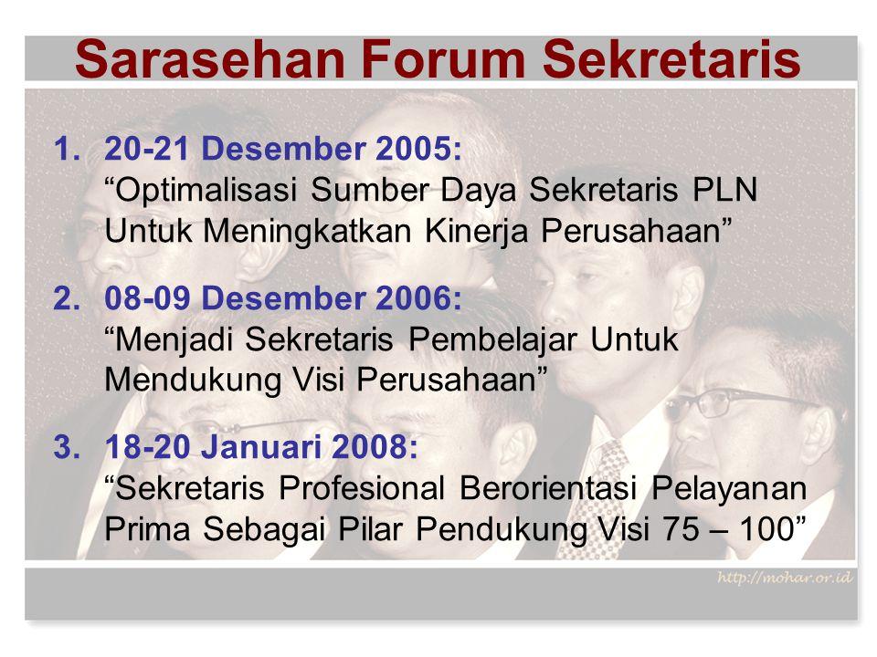 """Sarasehan Forum Sekretaris 1.20-21 Desember 2005: """"Optimalisasi Sumber Daya Sekretaris PLN Untuk Meningkatkan Kinerja Perusahaan"""" 2.08-09 Desember 200"""