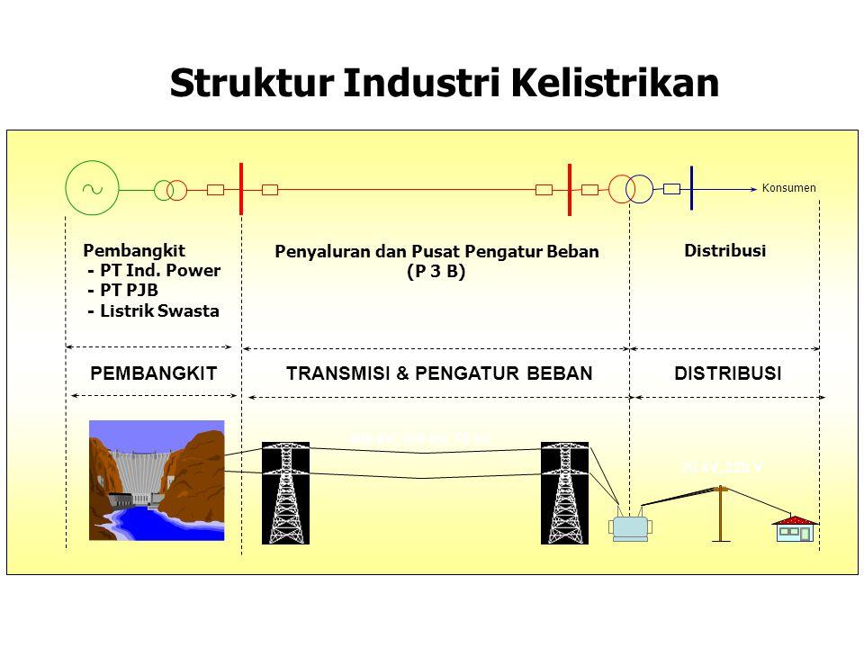 Pembangkit - PT Ind. Power - PT PJB - Listrik Swasta Penyaluran dan Pusat Pengatur Beban (P 3 B) Distribusi Konsumen Struktur Industri Kelistrikan PEM