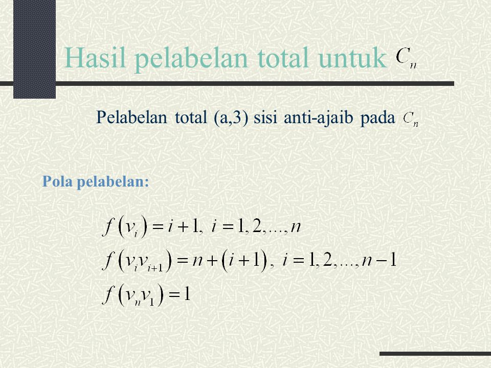 Hasil pelabelan total untuk Pelabelan total (a,3) sisi anti-ajaib pada Pola pelabelan: