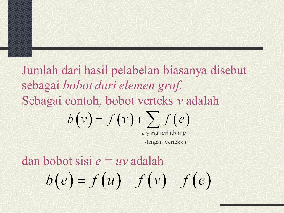 Jumlah dari hasil pelabelan biasanya disebut sebagai bobot dari elemen graf. Sebagai contoh, bobot verteks v adalah e yang terhubung dengan verteks v
