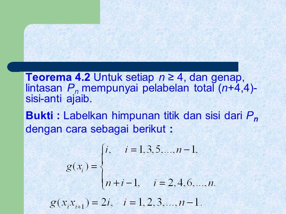 Teorema 4.2 Untuk setiap n ≥ 4, dan genap, lintasan P n mempunyai pelabelan total (n+4,4)- sisi-anti ajaib. Bukti : Labelkan himpunan titik dan sisi d