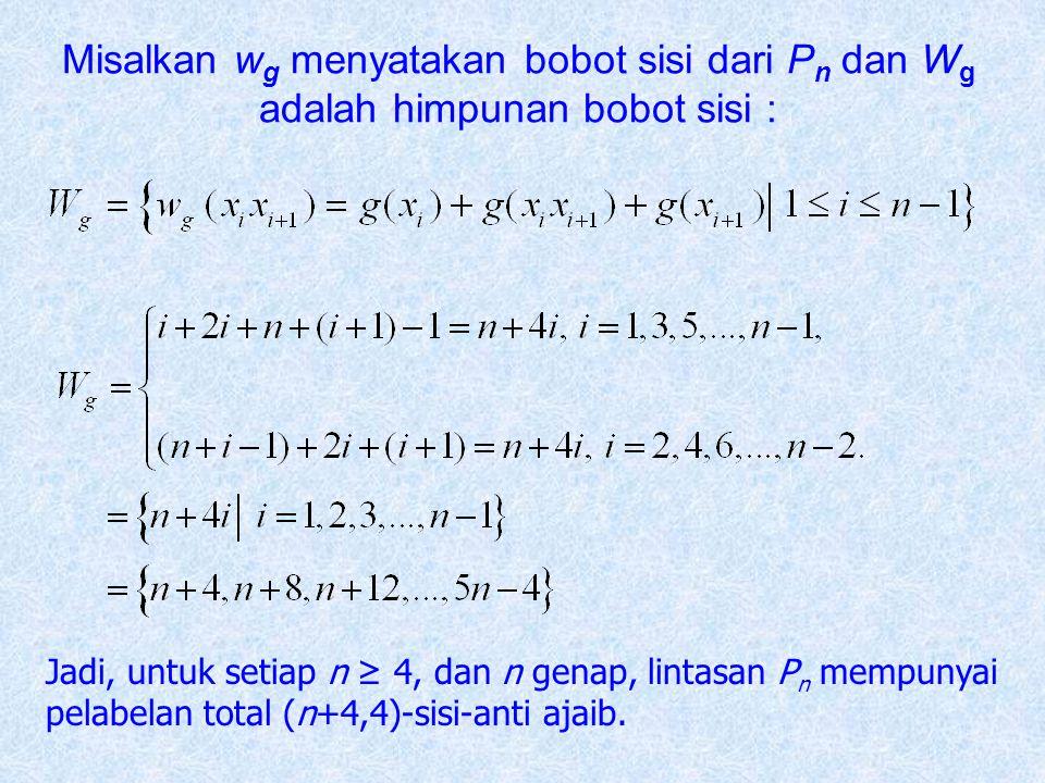 Misalkan w g menyatakan bobot sisi dari P n dan W g adalah himpunan bobot sisi : Jadi, untuk setiap n ≥ 4, dan n genap, lintasan P n mempunyai pelabel