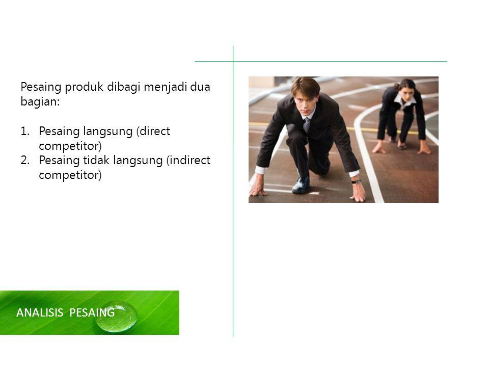 ANALISIS PESAING Pesaing produk dibagi menjadi dua bagian: 1.Pesaing langsung (direct competitor) 2.Pesaing tidak langsung (indirect competitor)