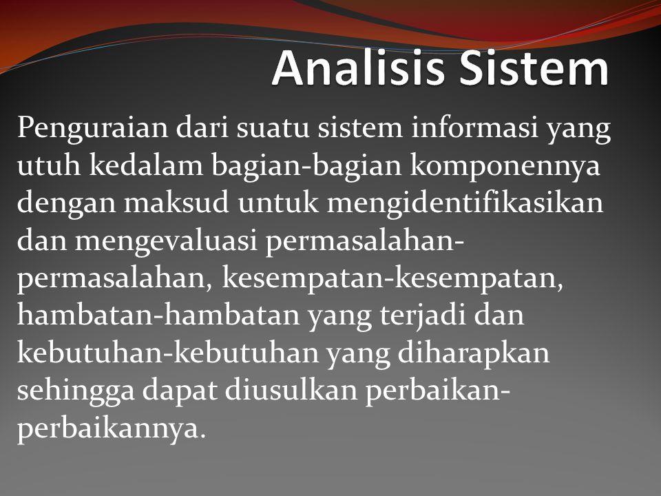 Langkah-Langkah Analisis Sistem Identify, yaitu mengidentifikasi masalah Mengidentifikasi/mengenal masalah merupakan langkah pertama yang dilakukan dalam tahap analisis sistem.