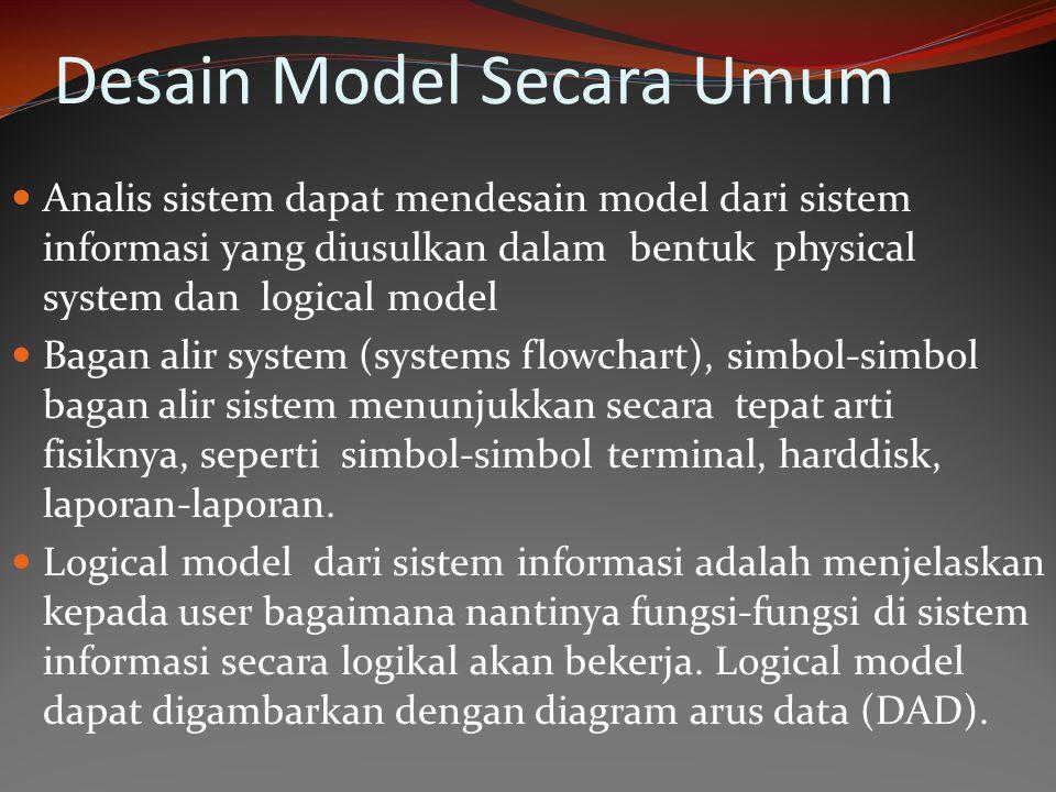 Desain Model Secara Umum Analis sistem dapat mendesain model dari sistem informasi yang diusulkan dalam bentuk physical system dan logical model Bagan