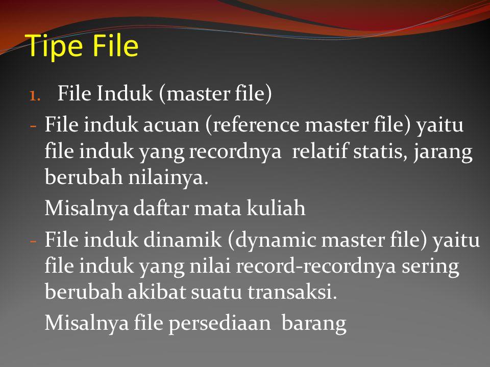 Tipe File 1. File Induk (master file) - File induk acuan (reference master file) yaitu file induk yang recordnya relatif statis, jarang berubah nilain