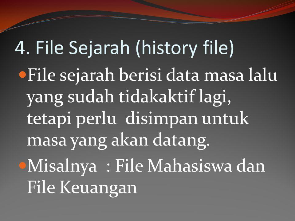 4. File Sejarah (history file) File sejarah berisi data masa lalu yang sudah tidakaktif lagi, tetapi perlu disimpan untuk masa yang akan datang. Misal