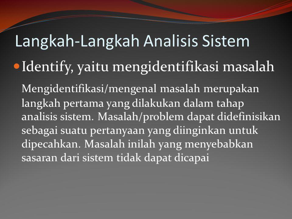Langkah-Langkah Analisis Sistem Identify, yaitu mengidentifikasi masalah Mengidentifikasi/mengenal masalah merupakan langkah pertama yang dilakukan da