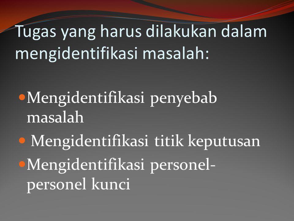 Tugas yang harus dilakukan dalam mengidentifikasi masalah: Mengidentifikasi penyebab masalah Mengidentifikasi titik keputusan Mengidentifikasi persone