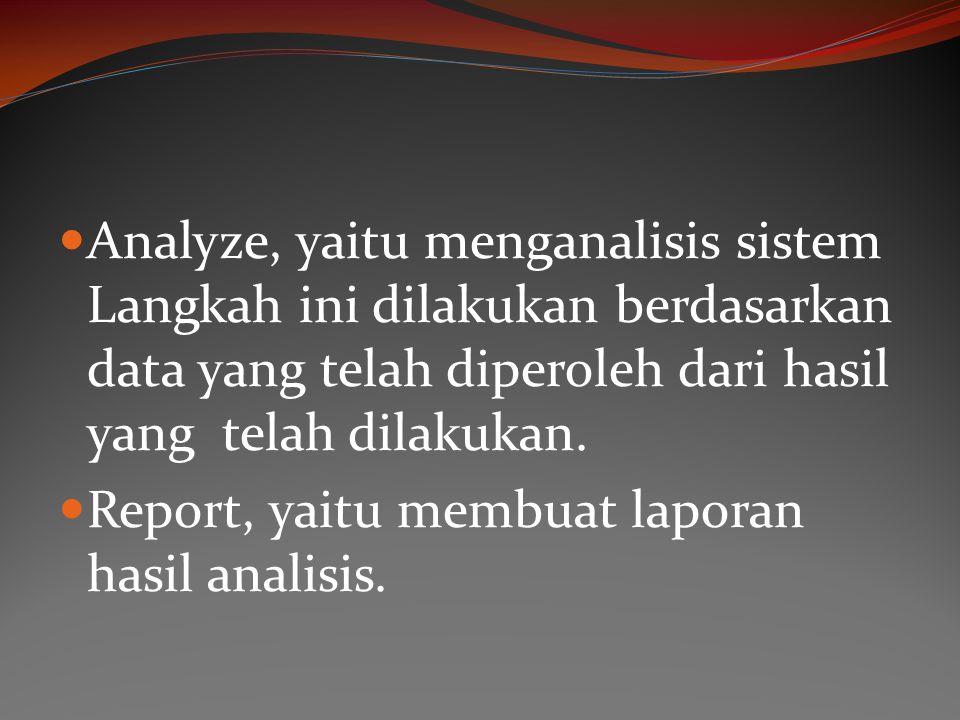 Analyze, yaitu menganalisis sistem Langkah ini dilakukan berdasarkan data yang telah diperoleh dari hasil yang telah dilakukan. Report, yaitu membuat