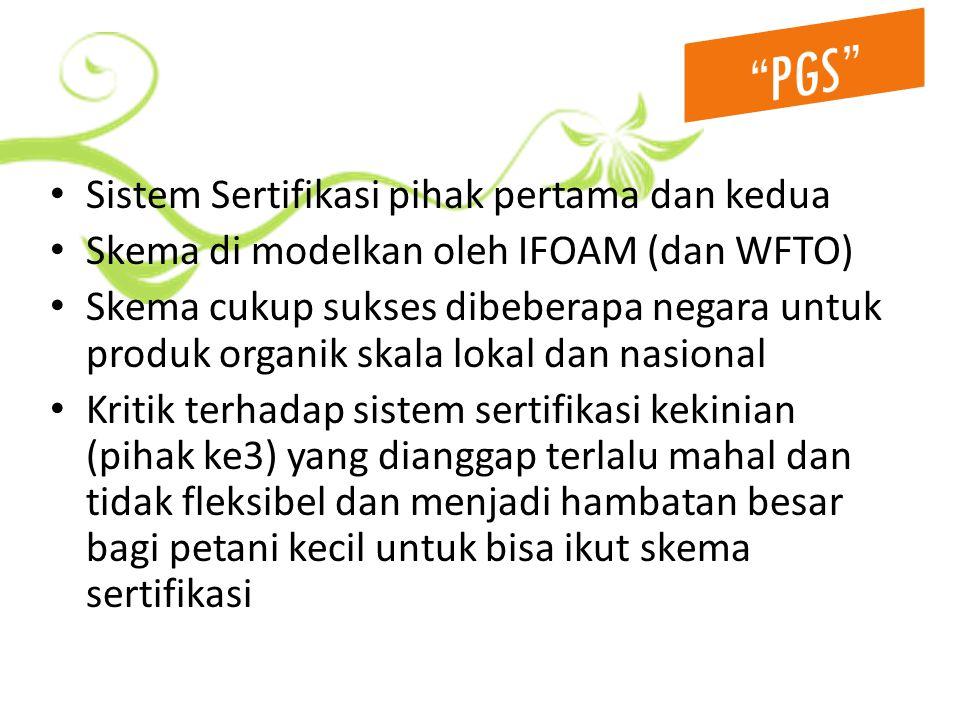Sistem Sertifikasi pihak pertama dan kedua Skema di modelkan oleh IFOAM (dan WFTO) Skema cukup sukses dibeberapa negara untuk produk organik skala lokal dan nasional Kritik terhadap sistem sertifikasi kekinian (pihak ke3) yang dianggap terlalu mahal dan tidak fleksibel dan menjadi hambatan besar bagi petani kecil untuk bisa ikut skema sertifikasi