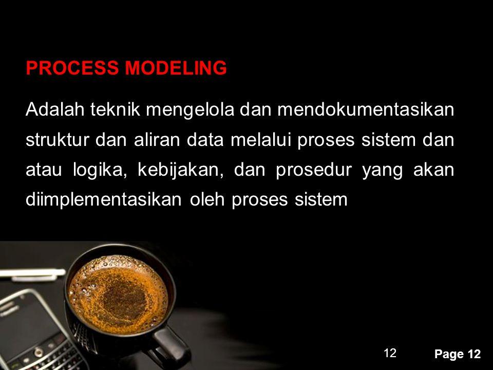 Powerpoint Templates Page 12 12 PROCESS MODELING Adalah teknik mengelola dan mendokumentasikan struktur dan aliran data melalui proses sistem dan atau
