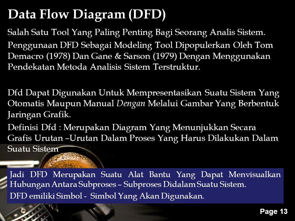 Powerpoint Templates Page 13 Salah Satu Tool Yang Paling Penting Bagi Seorang Analis Sistem. Penggunaan DFD Sebagai Modeling Tool Dipopulerkan Oleh To