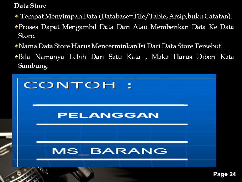 Powerpoint Templates Page 24 Data Store Tempat Menyimpan Data (Database= File/Table, Arsip,buku Catatan). Proses Dapat Mengambil Data Dari Atau Member
