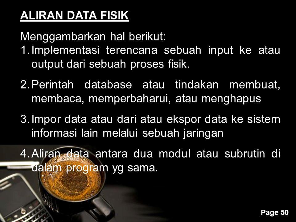 Powerpoint Templates Page 50 ALIRAN DATA FISIK Menggambarkan hal berikut: 1.Implementasi terencana sebuah input ke atau output dari sebuah proses fisi