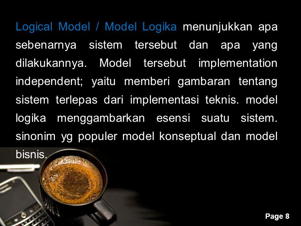 Powerpoint Templates Page 8 Logical Model / Model Logika menunjukkan apa sebenarnya sistem tersebut dan apa yang dilakukannya. Model tersebut implemen