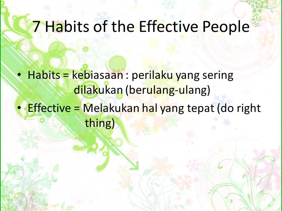 Independence or Self-Mastery 3 kebiasaan pertama sekitar berubah dari ketergantungan menjadi kemandirian (penguasaan diri) Habit 1: Be Proactive (jadilah proaktif) Habit 2: Begin with the End in Mind (mulailah dengan pemikiran tujuan akhir) Habit 3: Put First Things First (dahulukan yang utama)