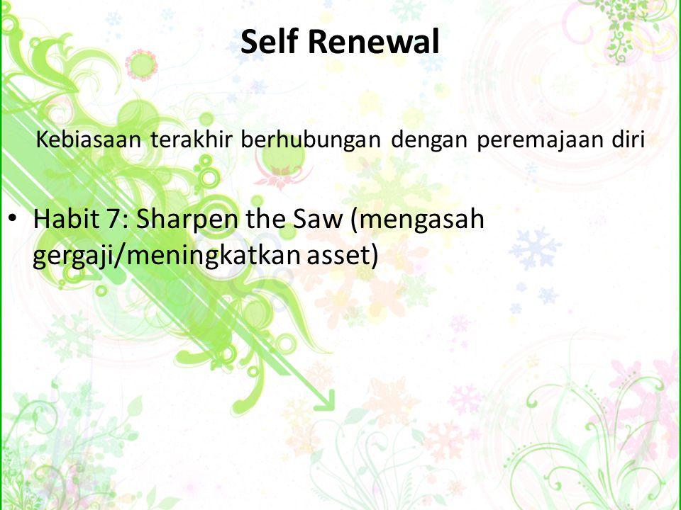 Self Renewal Kebiasaan terakhir berhubungan dengan peremajaan diri Habit 7: Sharpen the Saw (mengasah gergaji/meningkatkan asset)