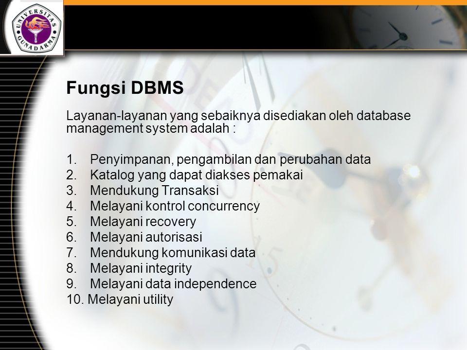 Fungsi DBMS Layanan-layanan yang sebaiknya disediakan oleh database management system adalah : 1.