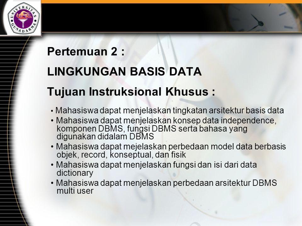 Tujuan utama dari sistem basis data adalah menyediakan pemakai melalui suatu pandangan abstrak mengenai data, dengan menyembunyikan detail dari bagaimana data disimpan dan dimanipulasikan.
