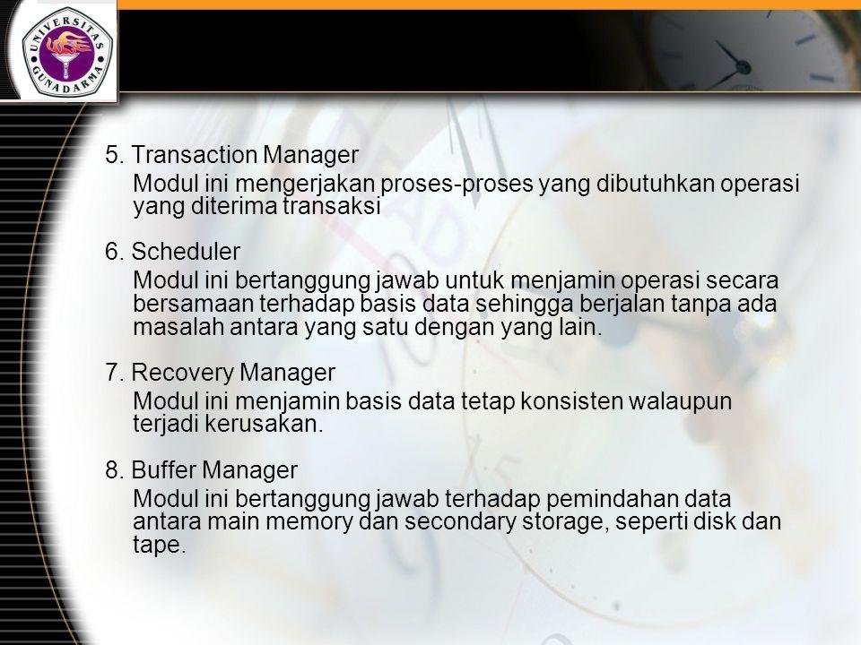 5. Transaction Manager Modul ini mengerjakan proses-proses yang dibutuhkan operasi yang diterima transaksi 6. Scheduler Modul ini bertanggung jawab un
