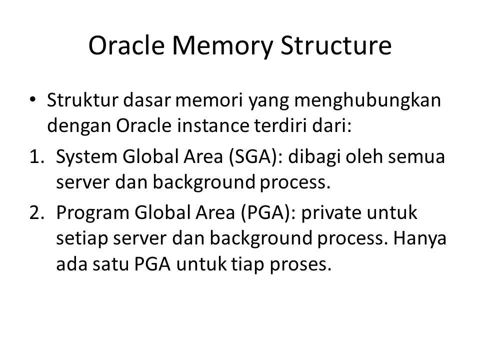 Struktur dasar memori yang menghubungkan dengan Oracle instance terdiri dari: 1.System Global Area (SGA): dibagi oleh semua server dan background proc