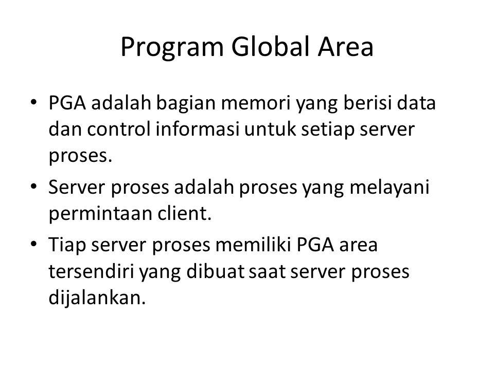 Program Global Area PGA adalah bagian memori yang berisi data dan control informasi untuk setiap server proses. Server proses adalah proses yang melay