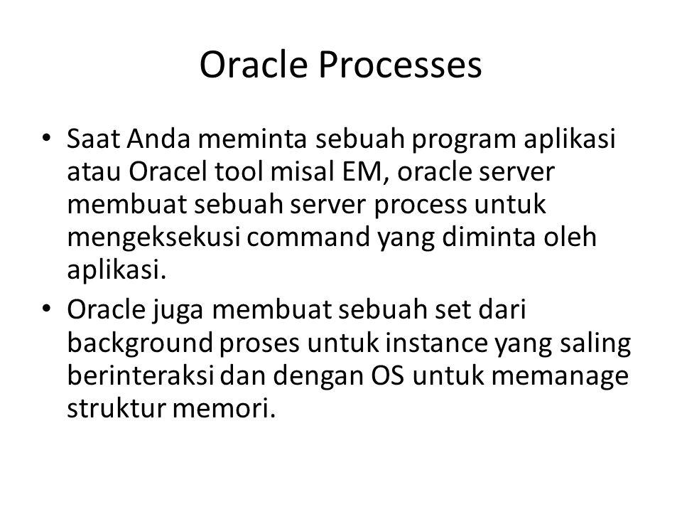 Saat Anda meminta sebuah program aplikasi atau Oracel tool misal EM, oracle server membuat sebuah server process untuk mengeksekusi command yang dimin