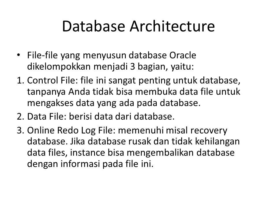 Database Architecture Ada beberapa file yang lain yang tidak secara resmi sebagai bagian dari database namun sangat penting untuk keberhasilan jalannya database, yaitu: 1.Parameter File: digunakan untuk menetapkan bagaimana instance akan dikonfigurasi ketika starts up.
