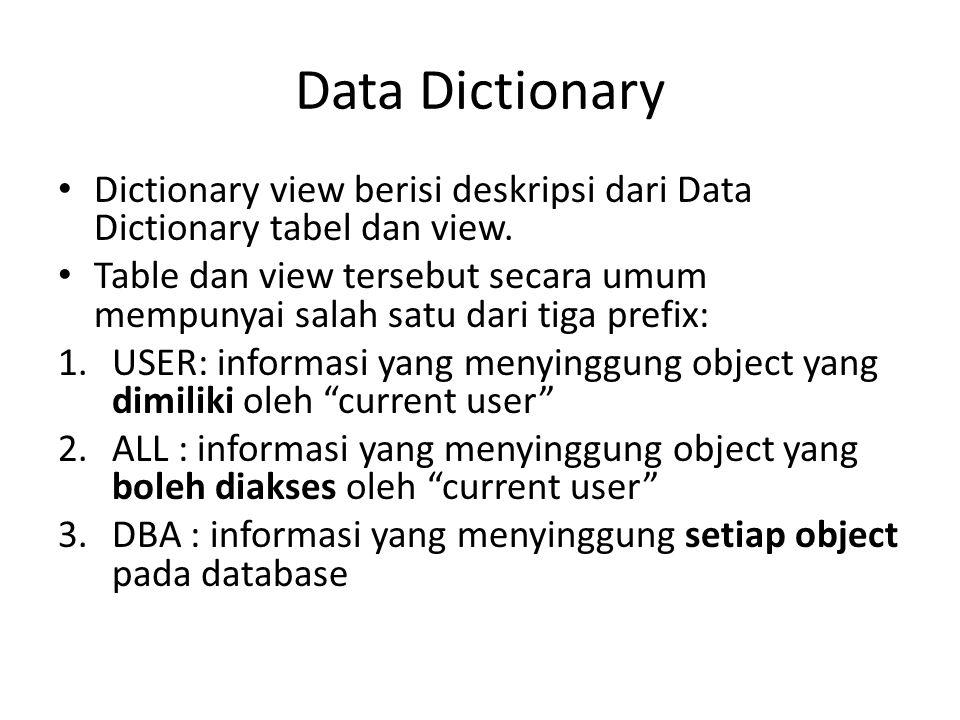 Data Dictionary Dictionary view berisi deskripsi dari Data Dictionary tabel dan view. Table dan view tersebut secara umum mempunyai salah satu dari ti