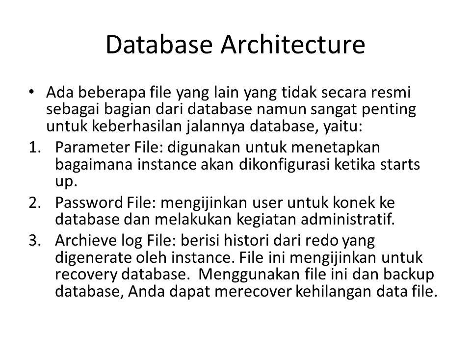 Database Architecture Ada beberapa file yang lain yang tidak secara resmi sebagai bagian dari database namun sangat penting untuk keberhasilan jalanny