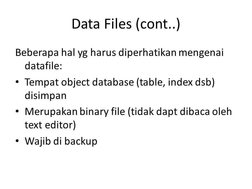 Data Files (cont..) Beberapa hal yg harus diperhatikan mengenai datafile: Tempat object database (table, index dsb) disimpan Merupakan binary file (ti