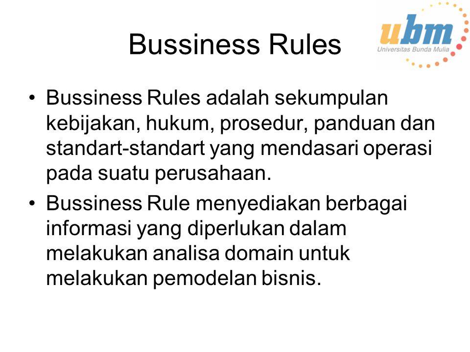 Bussiness Rules Bussiness Rules adalah sekumpulan kebijakan, hukum, prosedur, panduan dan standart-standart yang mendasari operasi pada suatu perusahaan.