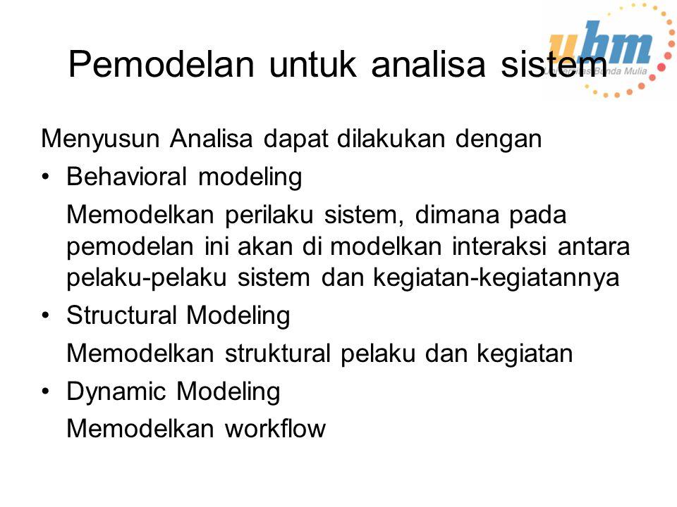 Pemodelan untuk analisa sistem Menyusun Analisa dapat dilakukan dengan Behavioral modeling Memodelkan perilaku sistem, dimana pada pemodelan ini akan di modelkan interaksi antara pelaku-pelaku sistem dan kegiatan-kegiatannya Structural Modeling Memodelkan struktural pelaku dan kegiatan Dynamic Modeling Memodelkan workflow
