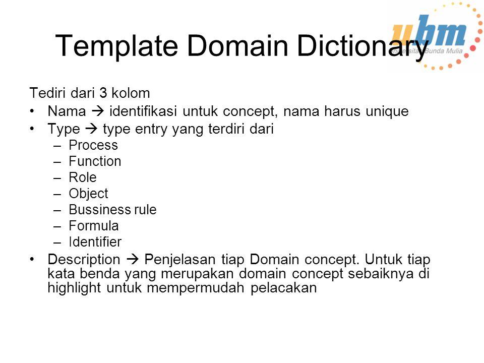 Template Domain Dictionary Tediri dari 3 kolom Nama  identifikasi untuk concept, nama harus unique Type  type entry yang terdiri dari –Process –Function –Role –Object –Bussiness rule –Formula –Identifier Description  Penjelasan tiap Domain concept.