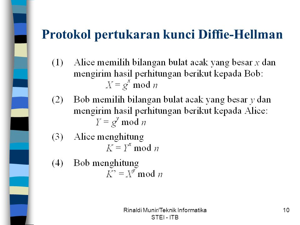 Rinaldi Munir/Teknik Informatika STEI - ITB 10 Protokol pertukaran kunci Diffie-Hellman