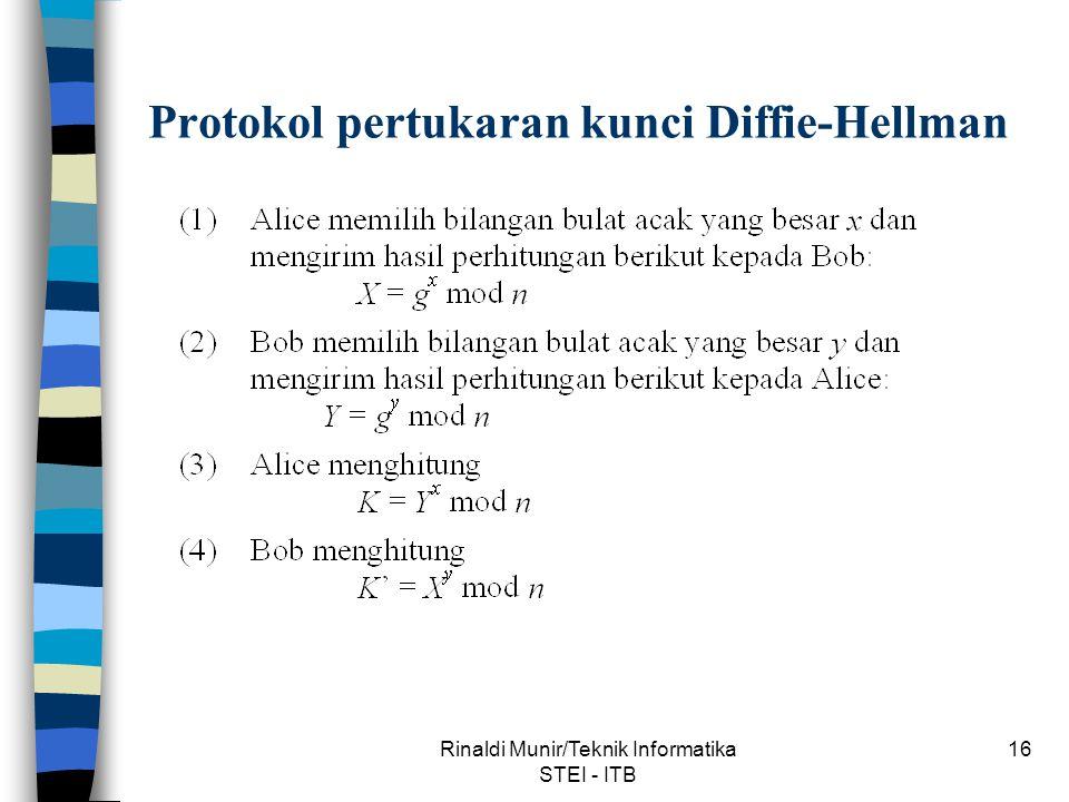 Rinaldi Munir/Teknik Informatika STEI - ITB 16 Protokol pertukaran kunci Diffie-Hellman