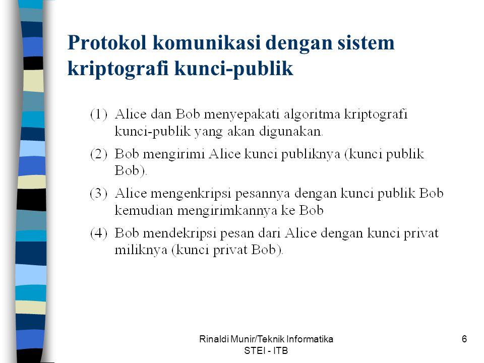 Rinaldi Munir/Teknik Informatika STEI - ITB 17 Protokol otentikasi password Otentikasi dengan menggunakan sandi-lewat dan fungsi hash satu-arah.
