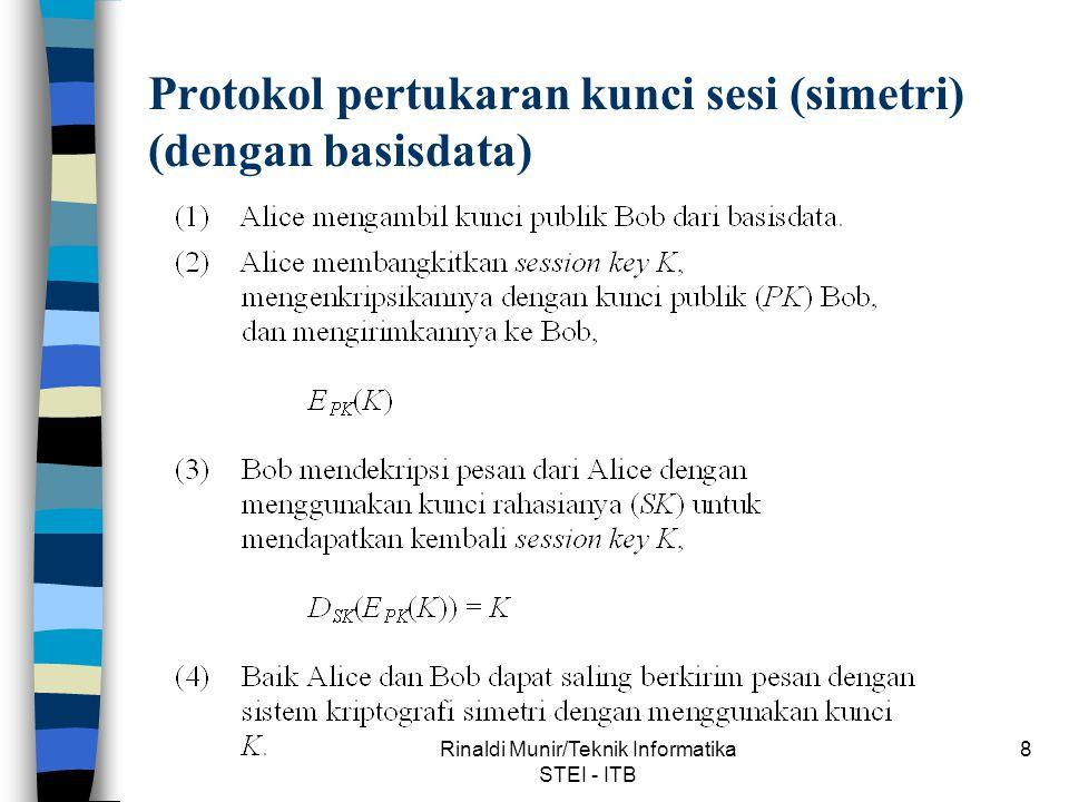 Rinaldi Munir/Teknik Informatika STEI - ITB 9 Protokol pertukaran kunci sesi (simetri) (bersamaan dengan mengirim pesan)