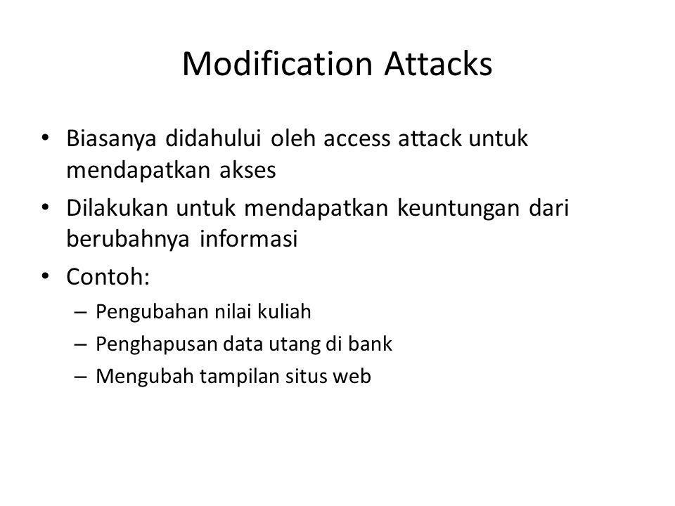 Modification Attacks Biasanya didahului oleh access attack untuk mendapatkan akses Dilakukan untuk mendapatkan keuntungan dari berubahnya informasi Co