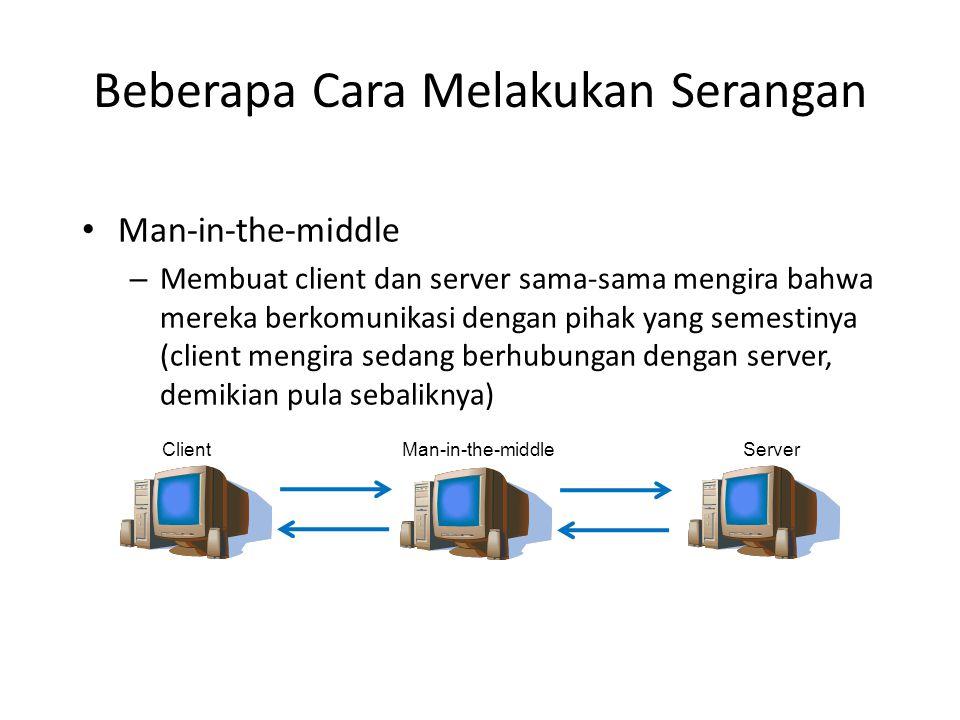 Beberapa Cara Melakukan Serangan Man-in-the-middle – Membuat client dan server sama-sama mengira bahwa mereka berkomunikasi dengan pihak yang semestinya (client mengira sedang berhubungan dengan server, demikian pula sebaliknya) ClientMan-in-the-middleServer