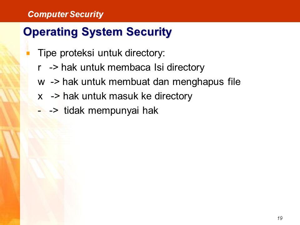 19 Computer Security Operating System Security Tipe proteksi untuk directory: r -> hak untuk membaca Isi directory w -> hak untuk membuat dan menghapu