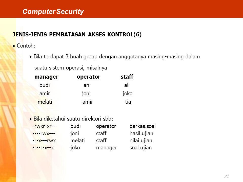 21 Computer Security JENIS-JENIS PEMBATASAN AKSES KONTROL(6)  Contoh:  Bila terdapat 3 buah group dengan anggotanya masing-masing dalam suatu sistem