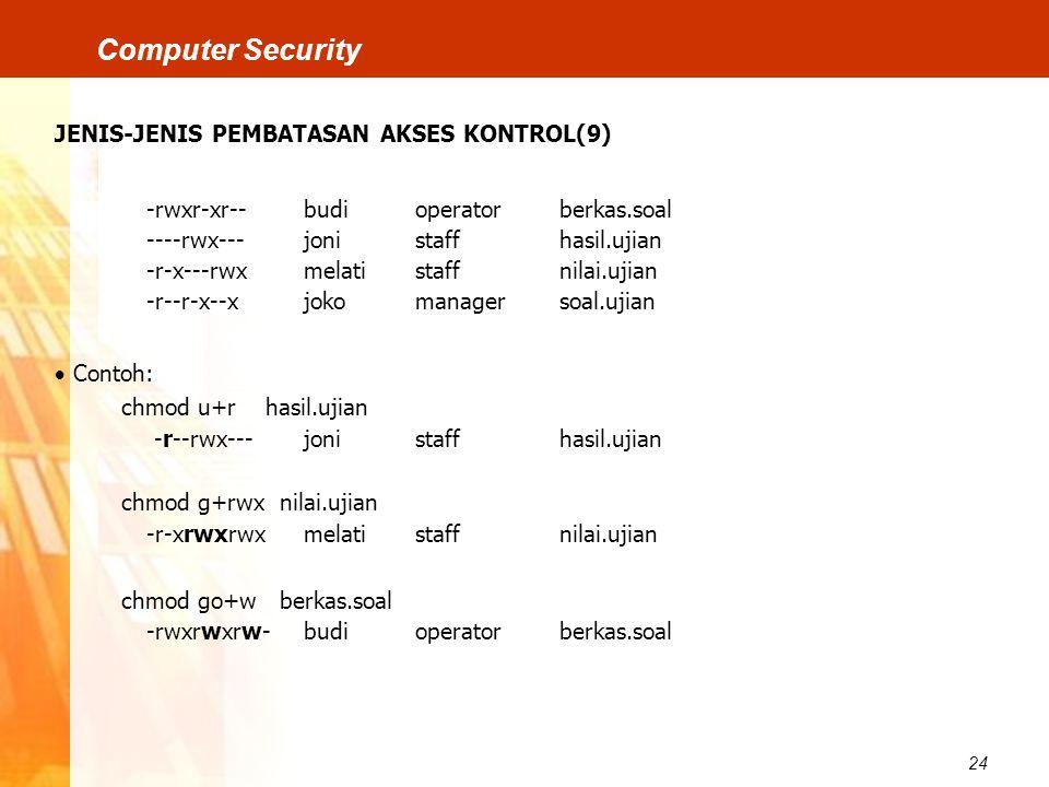 24 Computer Security JENIS-JENIS PEMBATASAN AKSES KONTROL(9) -rwxr-xr--budioperatorberkas.soal ----rwx---jonistaffhasil.ujian -r-x---rwxmelatistaffnil