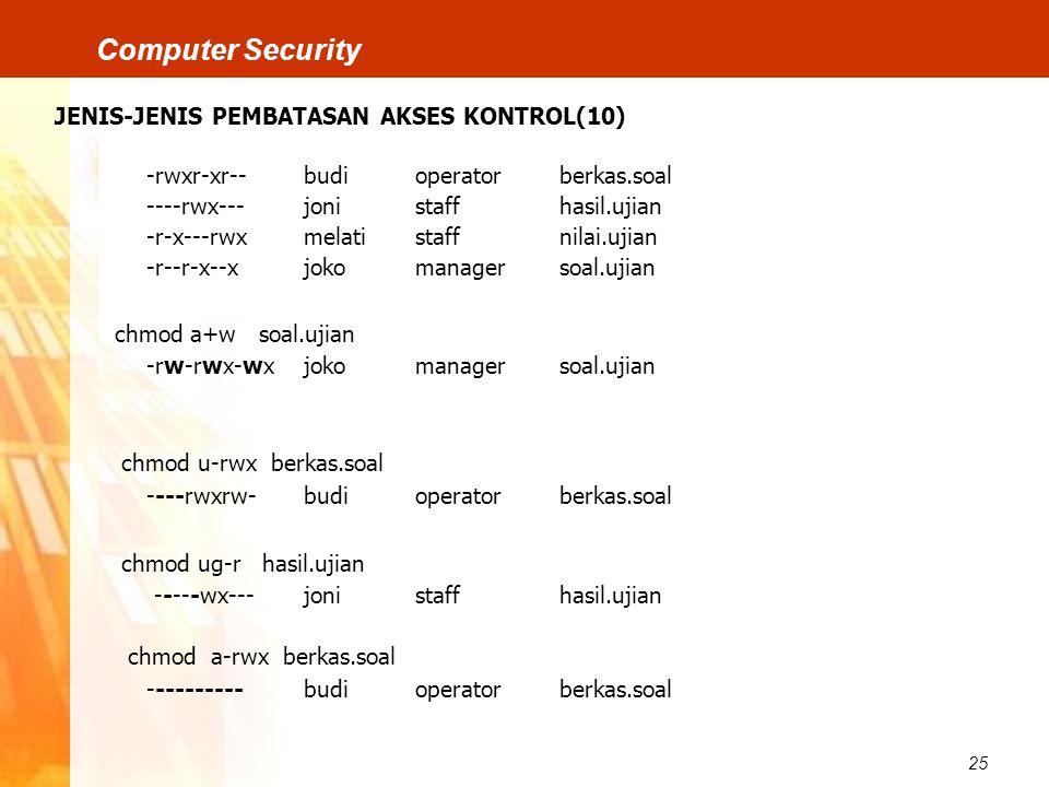 25 Computer Security JENIS-JENIS PEMBATASAN AKSES KONTROL(10) -rwxr-xr--budioperatorberkas.soal ----rwx---jonistaffhasil.ujian -r-x---rwxmelatistaffni